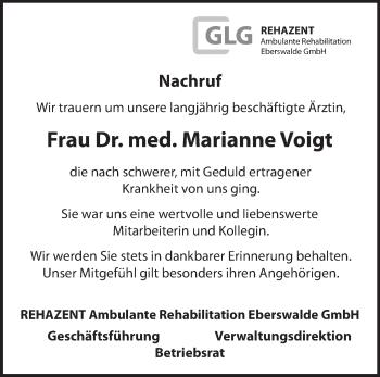 Anzeige Marianne Voigt