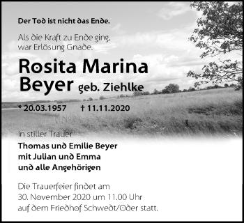 Anzeige Rosita Marina Beyer
