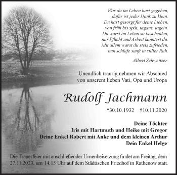 Anzeige Rudolf Jachmann