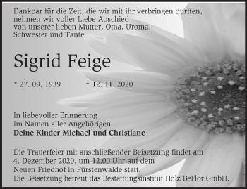 Anzeige Sigrid Feige