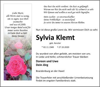 Anzeige Sylvia Klemt