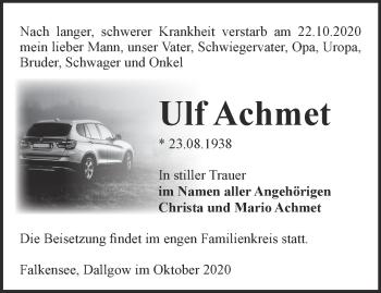 Anzeige Ulf Achmet
