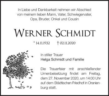 Anzeige Werner Schmidt