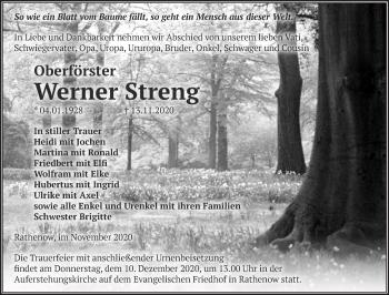 Anzeige Werner Streng