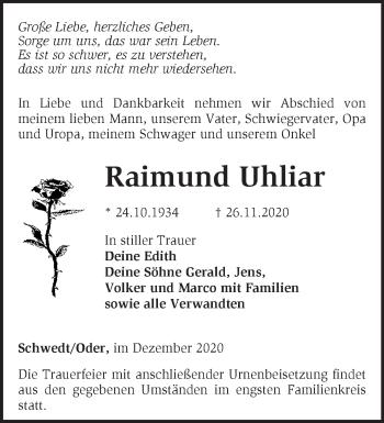 Anzeige Raimund Uhliar