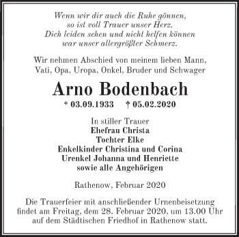 Traueranzeige Arno Bodenbach