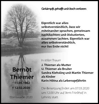 Traueranzeige Berndt Thiemer