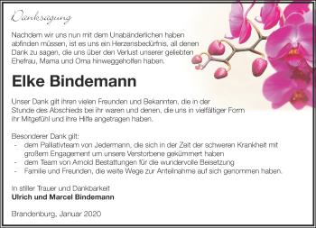 Traueranzeige Elke Bindemann