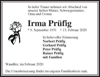 Traueranzeige Irma Prüfig