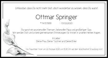 Traueranzeige Ottmar Springer