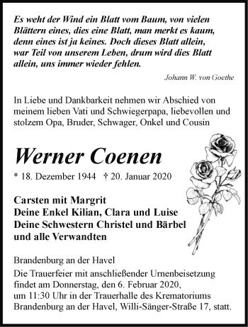 Traueranzeige Werner Coenen