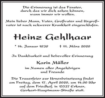 Anzeige Heinz Gehlhaar