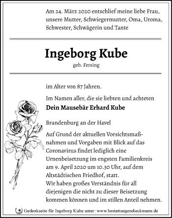 Traueranzeige Ingeborg Kube