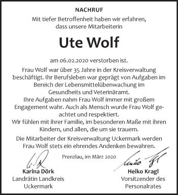 Anzeige Ute Wolf