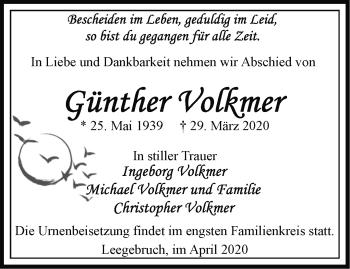 Traueranzeige Günther Volkmer