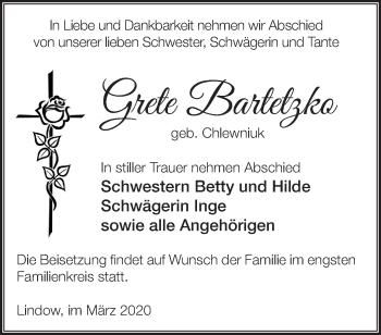 Traueranzeige Grete Bartetzko