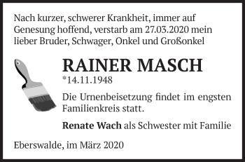 Traueranzeige Rainer Masch