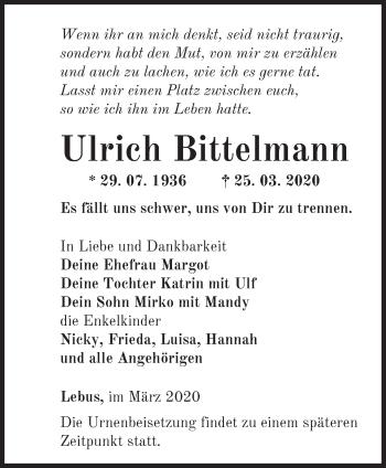 Traueranzeige Ulrich Bittelmann
