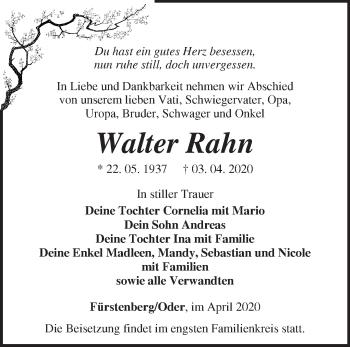 Traueranzeige Walter Rahn