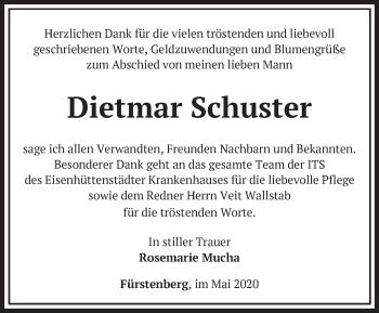 Traueranzeige Dietmar Schuster