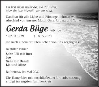 Traueranzeige Gerda Büge