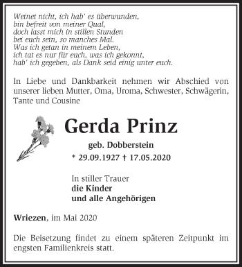 Traueranzeige Gerda Prinz