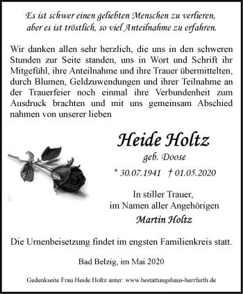 Traueranzeige Heide Holtz