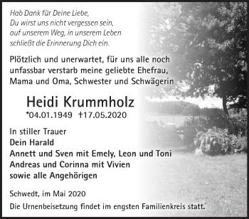 Traueranzeige Heidi Krummholz