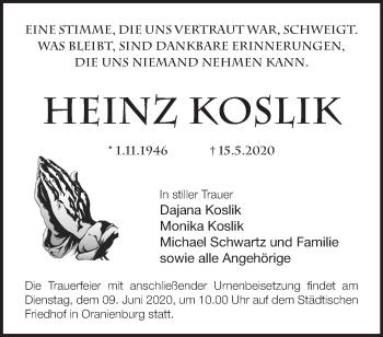 Traueranzeige Heinz Koslik
