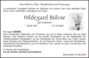 Traueranzeige Hildegard Bülow