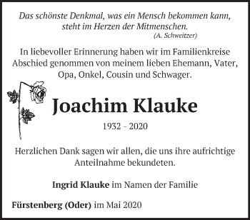 Traueranzeige Joachim Klauke