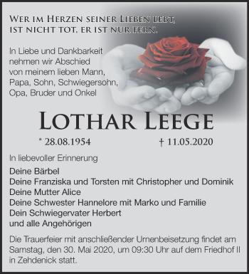 Traueranzeige Lothar Leege