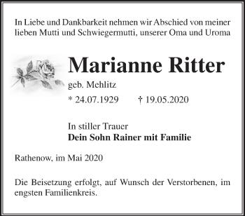 Traueranzeige Marianne Ritter