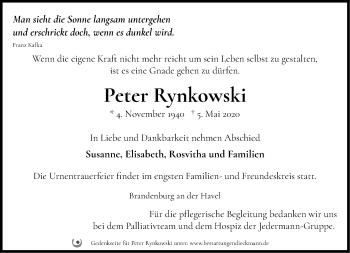 Traueranzeige Peter Rynkowski