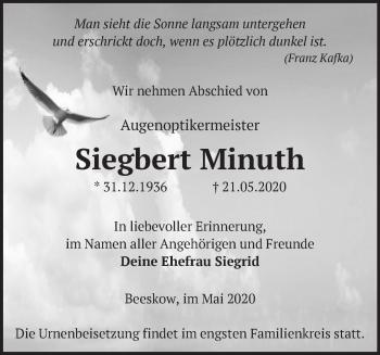 Traueranzeige Siegbert Minuth