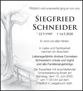 Traueranzeige Siegfriedd Schneider