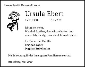 Traueranzeige Ursula Ebert