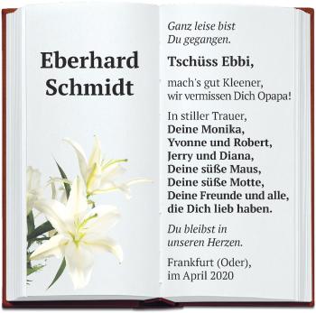 Traueranzeige Eberhard Schmidt
