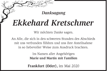 Traueranzeige Ekkehard Kretschmer
