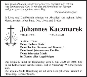 Traueranzeige Johannes Kaczmarek