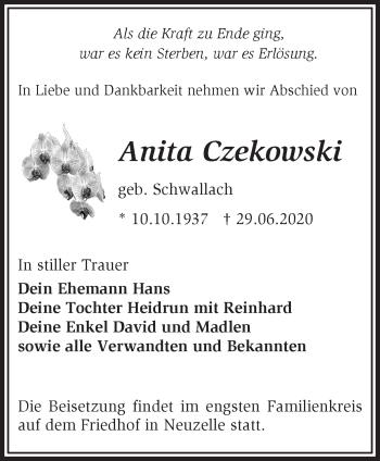 Traueranzeige Anita Czekowski
