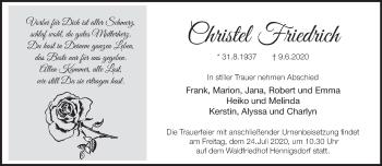 Traueranzeige Christel Friedrich