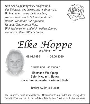 Traueranzeige Elke Hoppe