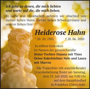 Traueranzeige Heiderose Hahn