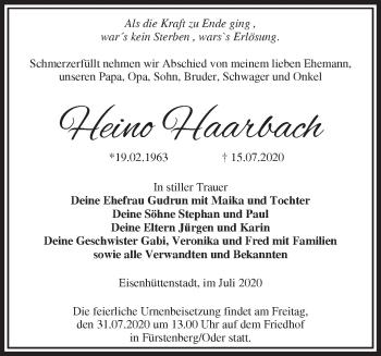 Traueranzeige Heino Haarbach