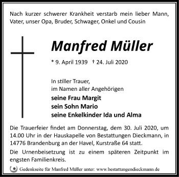 Traueranzeige Manfred Müller