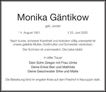 Traueranzeige Monika Gäntikow