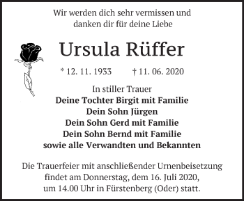 Traueranzeige Ursula Rüffer
