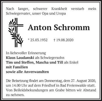 Anzeige Anton Schromm
