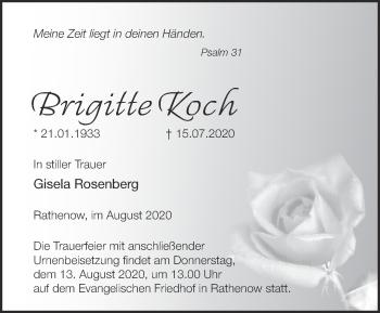 Traueranzeige Brigitte Koch